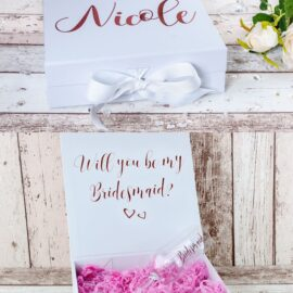 Bridesmaids Proposal Box Top and Open