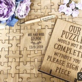 wooden guest book puzzle wedding