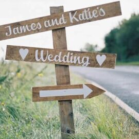Rustic Wooden Wedding Signpost