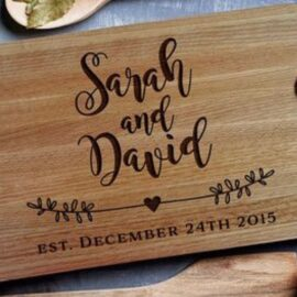 Happy Couple Wooden Chopping Board