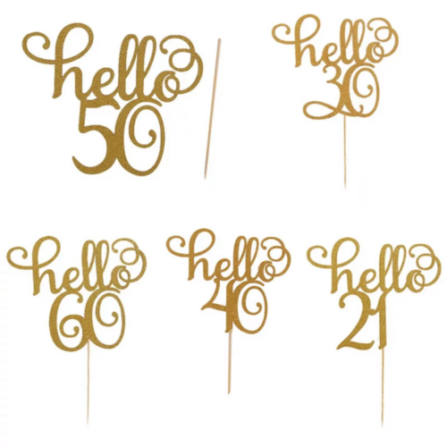 Acrylic Hello Birthday Cake Toppers